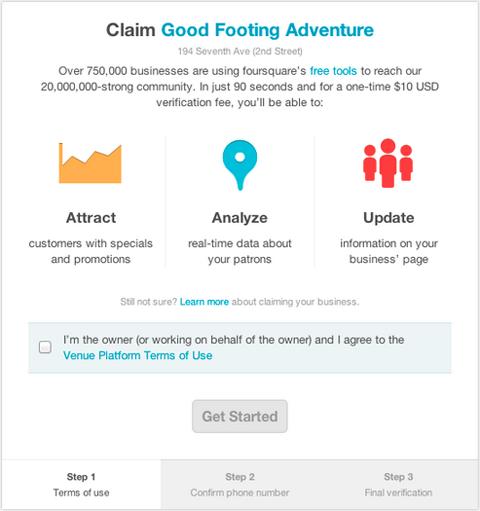 Foursquare ofrece verificación de cuentas para empresas por $10