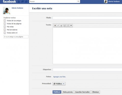 nueva nota facebook
