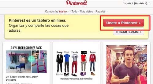 ingresar a Pinterest