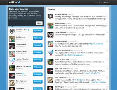 Twitter sugerencias personalizadas