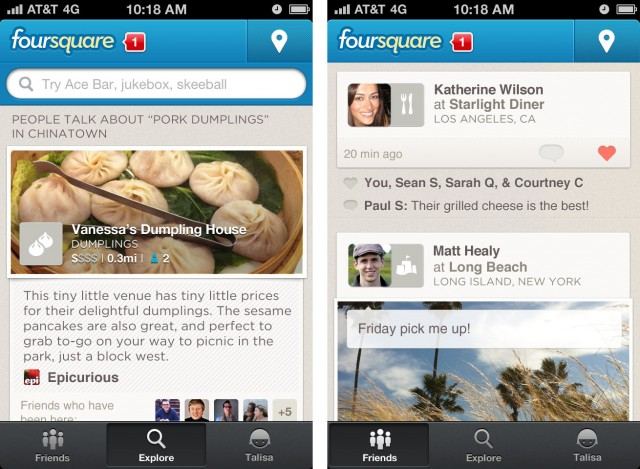 aplicación móvil Foursquare