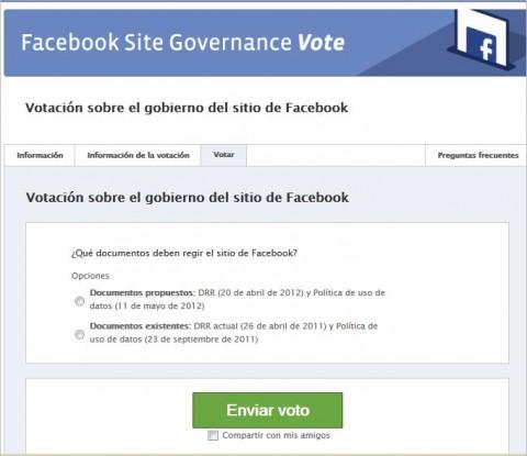 Facebook votacion  política privacidad