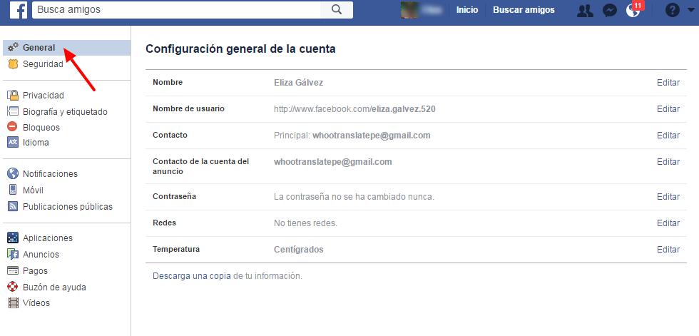 configuracion general facebook