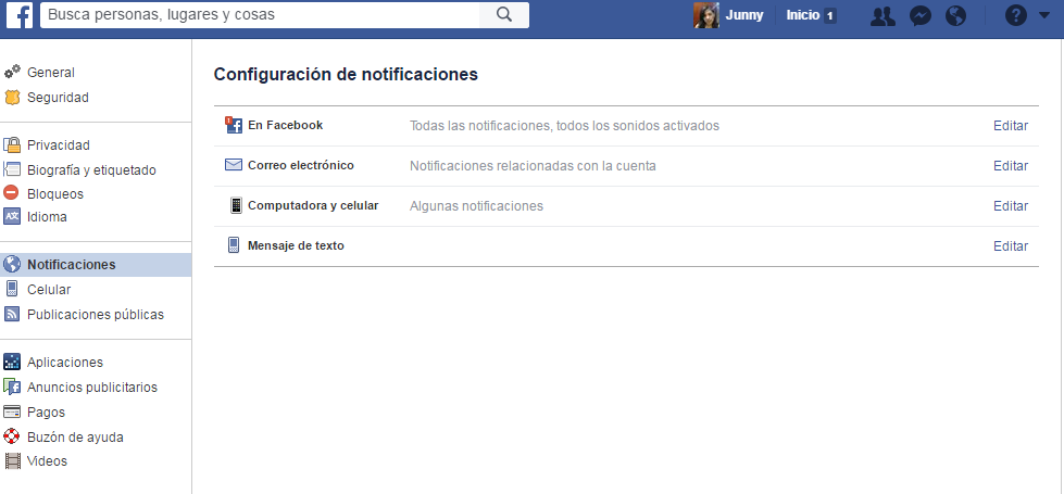 configuracion notificaciones de facebook