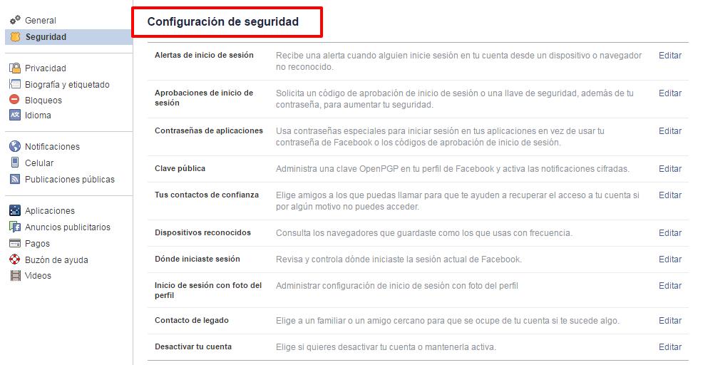 configuracion seguridad de facebook
