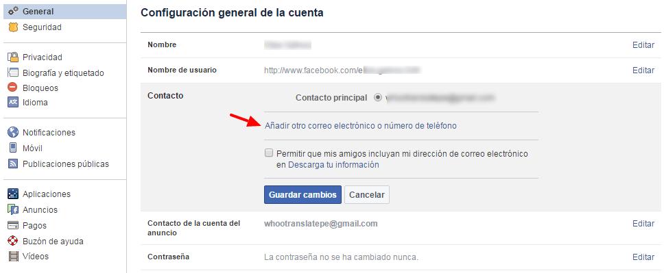 facebook configuracion de correo