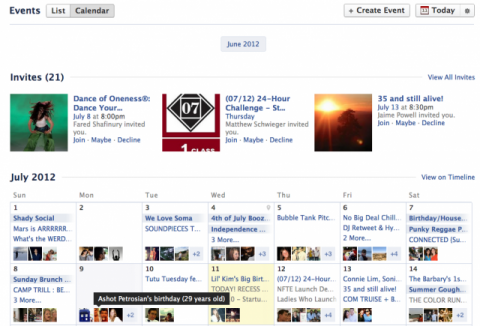"Facebook agrega vistas ""calendario"" y ""lista"" a Eventos"