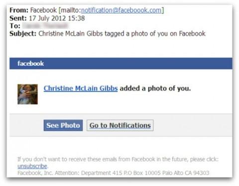 """Falso correo de Facebook """"ha sido etiquetado en un foto"""" contiene virus"""