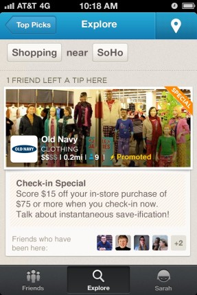 """Foursquare lanza sus primeros anuncios """"actualizaciones promocionadas"""""""