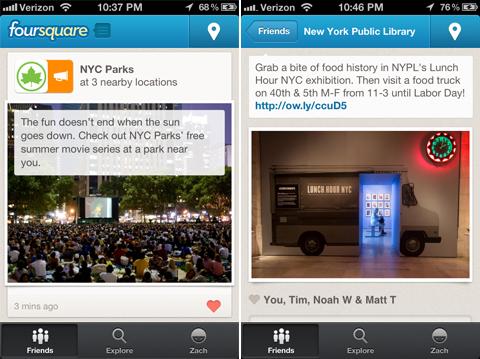 """Foursquare """"actualizaciones locales"""""""
