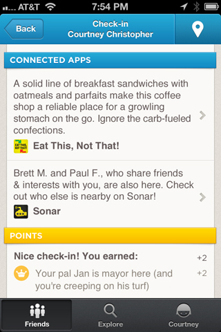 "Foursquare ""Connected Apps"""
