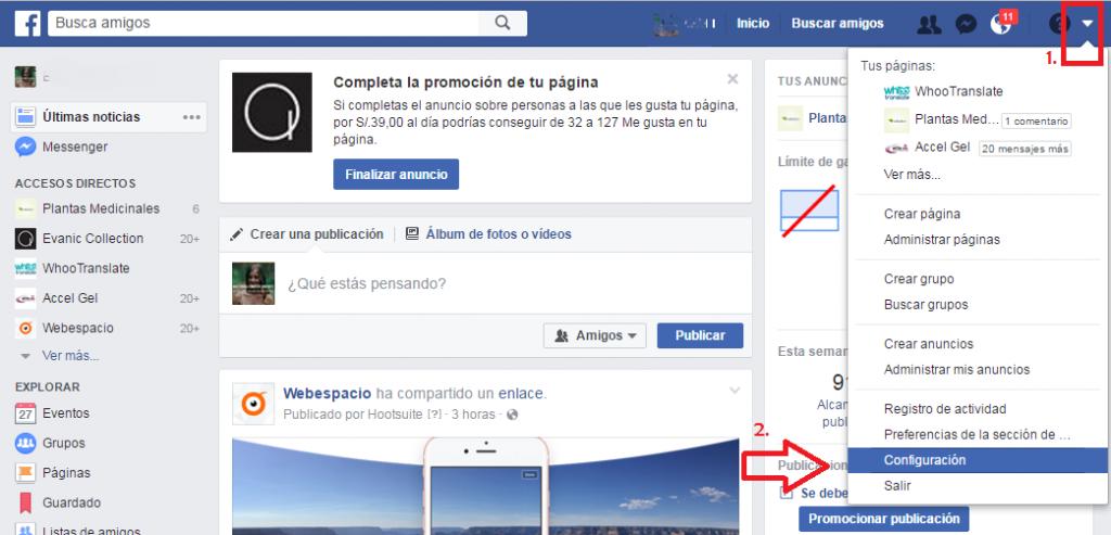 menu cuenta de facebook