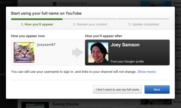 Youtube recomienda usar nombres reales de Google+