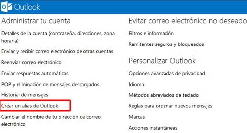 direcion de outlook