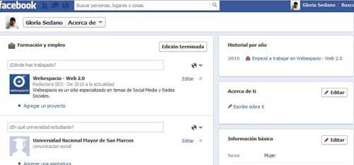 completar perfil de facebook