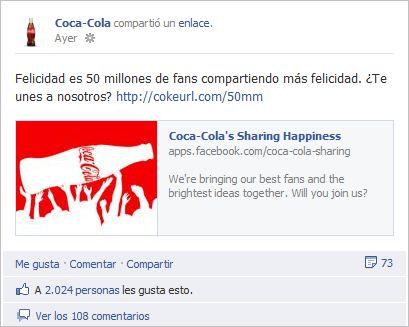Coca-Cola celebra sus 50 millones de fans en Facebook