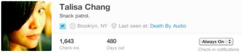 Nuevas notificaciones en Foursquare para seguir check-ins siempre