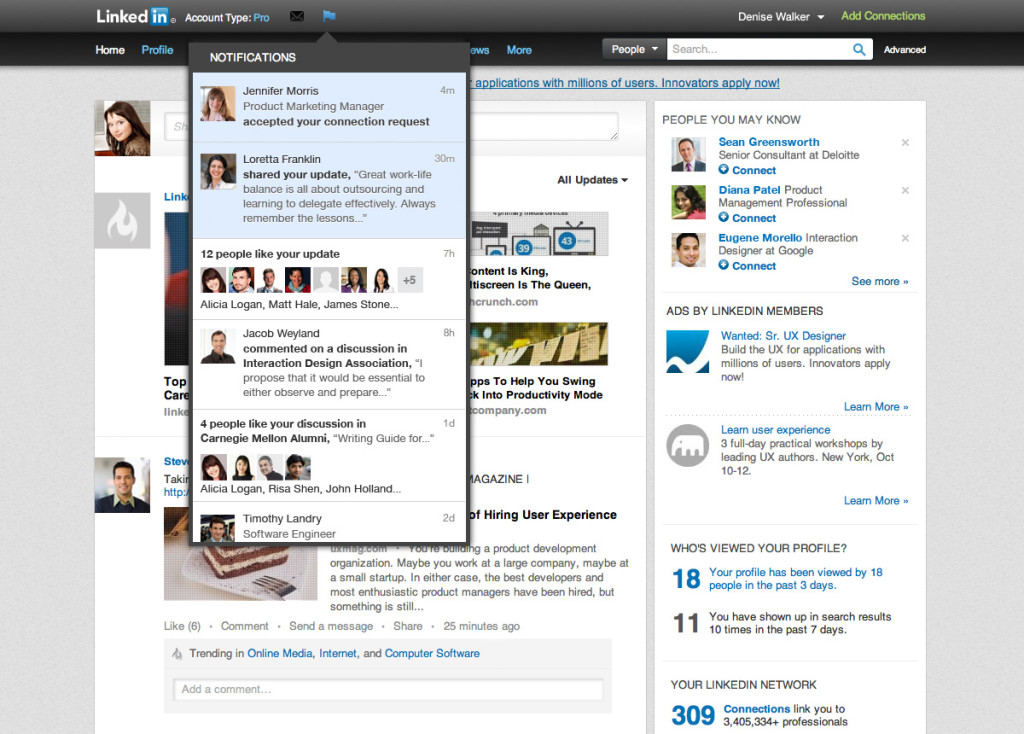 LinkedIn añade notificaciones