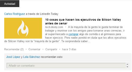 actividad de usuario en linkedin