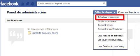 actualizar informacion de páginas de facebook