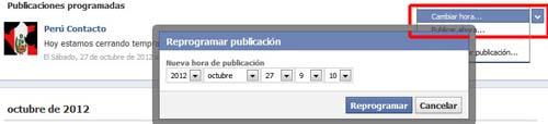 reprogramar un post en las paginas de facebook