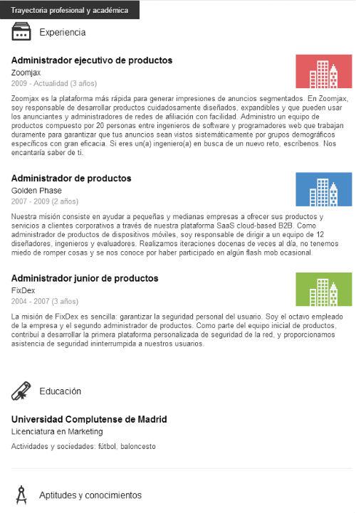 experiencia profesional y academica en linkedIn