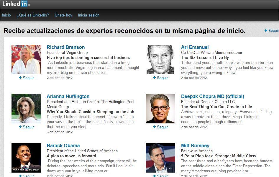 LinkedIn permite seguir a los líderes opinión más influyentes