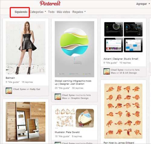 seguir a otros usuarios en Pinterest