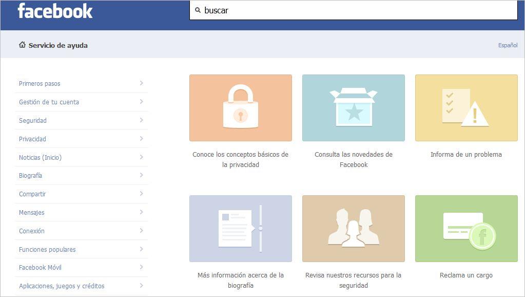 Nuevo servicio de ayuda de Facebook más sencillo