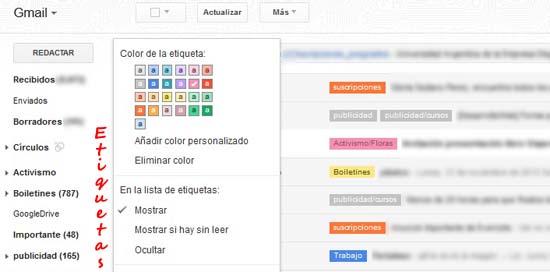 Etiquetas de colores para los mensajes