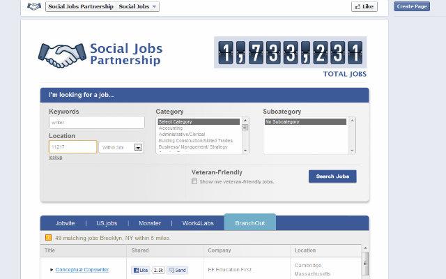 Social Jobs, el buscador de trabajo de Facebook