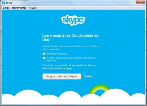 aceptar condiciones de uso de skype