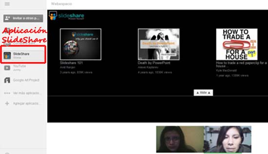 aplicacion slideshare para hangout