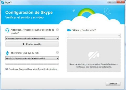 configurar el video y sonido de skype