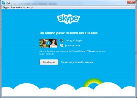 confirmar fusion de messenger con skype