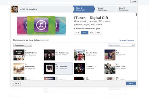 Facebook ya permite hacer regalos de iTunes a los amigos