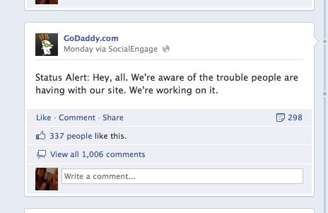 godaddy respuesta a crisis en facebook