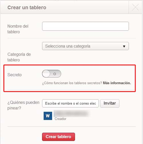 crear un tablero secreto de pinterest