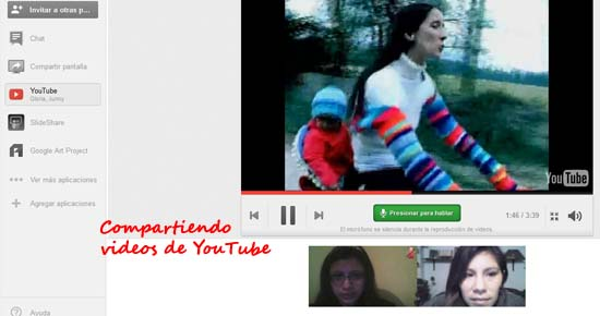 videos de youtube en los hangout