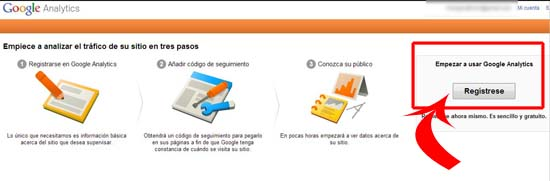 registro en google analytics
