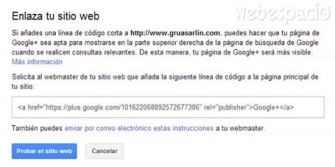 Probar sitio web en la página de Google plus