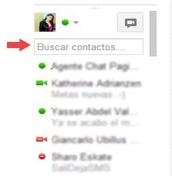 buscar contactos en el chatde google
