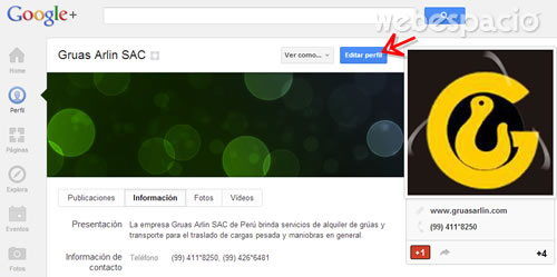 editar perfil de paginas de google plus