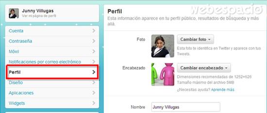 editar perfil twitter