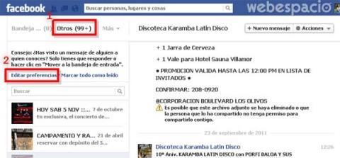 editar preferencias de mensajes en facebook