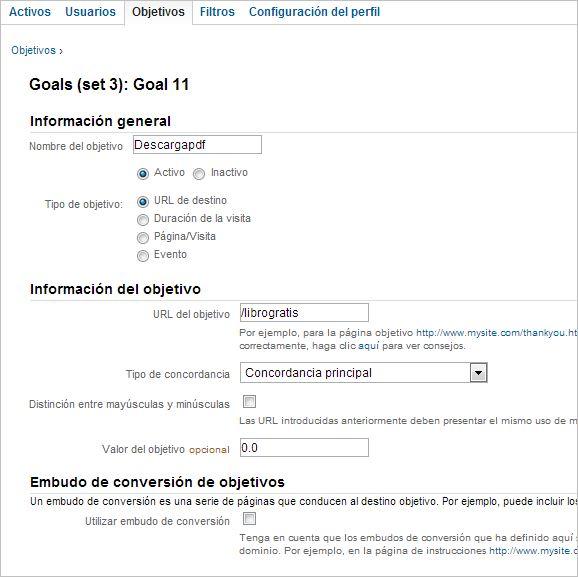 Cómo realizar el seguimiento de objetivos sin una URL asociada