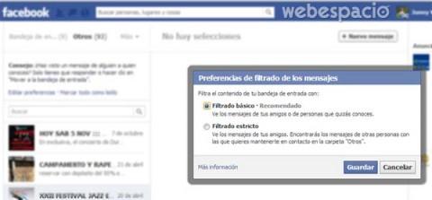 filtros de mensajes en facebook