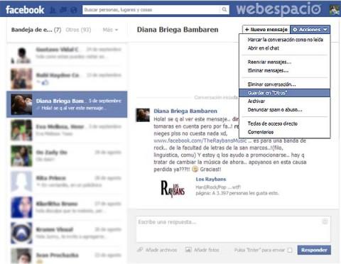 mover mensajes de facebook