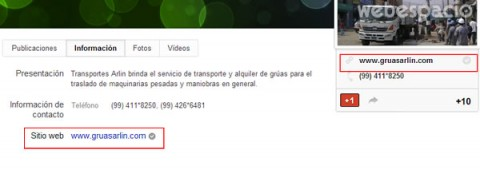 sitio web enlazado con pagina google plus