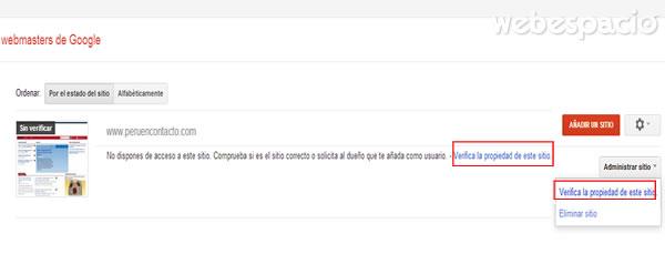 verificar la propiedad del sitio web en Google